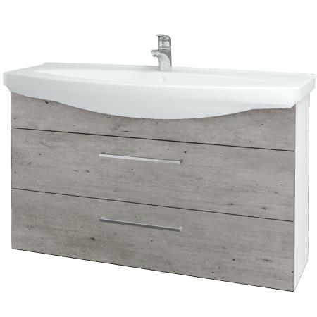 Dřevojas - Koupelnová skříň TAKE IT SZZ2 120 - N01 Bílá lesk / Úchytka T04 / D01 Beton (153236E)