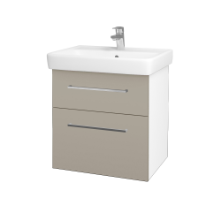 Dřevojas - Koupelnová skříň Q MAX SZZ2 60 - N01 Bílá lesk / Úchytka T04 / M05 Béžová mat (198213E)