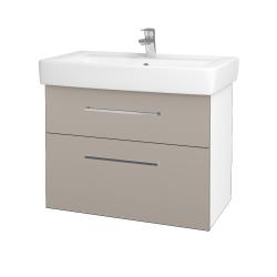 Dřevojas - Koupelnová skříň Q MAX SZZ2 80 - N01 Bílá lesk / Úchytka T04 / N07 Stone (198671E)