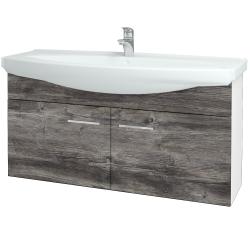 Dřevojas - Koupelnová skříň TAKE IT SZD2 120 - N01 Bílá lesk / Úchytka T04 / D10 Borovice Jackson (206529E)