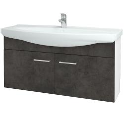 Dřevojas - Koupelnová skříň TAKE IT SZD2 120 - N01 Bílá lesk / Úchytka T04 / D16 Beton tmavý (206543E)
