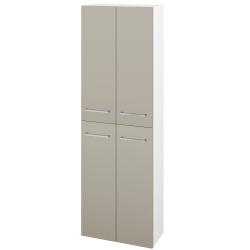 Dřevojas - Skříň vysoká DOS SV1D4 50 - N01 Bílá lesk / Úchytka T04 / M05 Béžová mat (209155E)