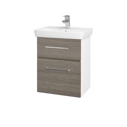 Dřevojas - Koupelnová skříň GO SZZ2 50 - N01 Bílá lesk / Úchytka T04 / D03 Cafe (27912E)