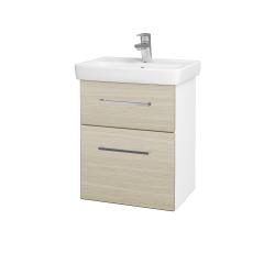 Dřevojas - Koupelnová skříň GO SZZ2 50 - N01 Bílá lesk / Úchytka T04 / D04 Dub (27943E)