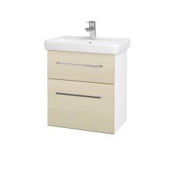 Dřevojas - Koupelnová skříň GO SZZ2 55 - N01 Bílá lesk / Úchytka T04 / D02 Bříza (28018E)