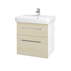 Dřevojas - Koupelnová skříň Q MAX SZZ2 60 - N01 Bílá lesk / Úchytka T04 / D02 Bříza (60025E)