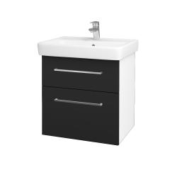 Dřevojas - Koupelnová skříň Q MAX SZZ2 60 - N01 Bílá lesk / Úchytka T04 / L03 Antracit vysoký lesk (60100E)