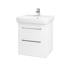 Dřevojas - Koupelnová skříň Q MAX SZZ2 55 - N01 Bílá lesk / Úchytka T04 / L01 Bílá vysoký lesk (61251E)