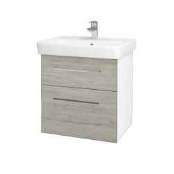 Dřevojas - Koupelnová skříň Q MAX SZZ2 60 - N01 Bílá lesk / Úchytka T04 / D05 Oregon (61725E)
