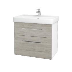 Dřevojas - Koupelnová skříň Q MAX SZZ2 70 - N01 Bílá lesk / Úchytka T04 / D05 Oregon (61732E)