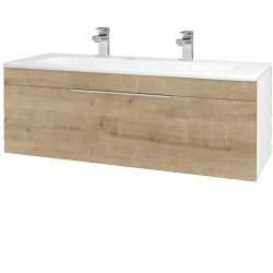 Dřevojas - Koupelnová skříň ASTON SZZ 120 - N01 Bílá lesk / Úchytka T05 / D09 Arlington (109431FU)