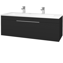 Dřevojas - Koupelnová skříň ASTON SZZ 120 - L03 Antracit vysoký lesk / Úchytka T05 / L03 Antracit vysoký lesk (109622FU)