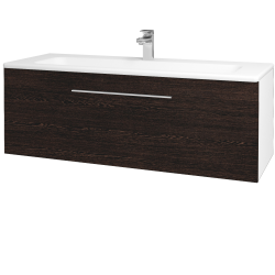 Dřevojas - Koupelnová skříň ASTON SZZ 120 - N01 Bílá lesk / Úchytka T05 / D08 Wenge (131159F)