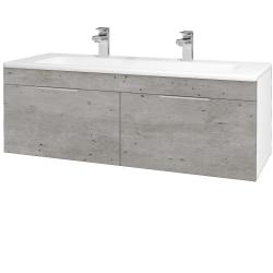 Dřevojas - Koupelnová skříň ASTON SZZ2 120 - N01 Bílá lesk / Úchytka T05 / D01 Beton (131166FU)