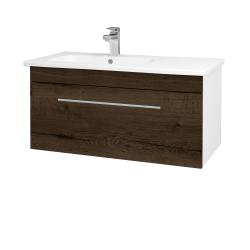 Dřevojas - Koupelnová skříň ASTON SZZ 90 - N01 Bílá lesk / Úchytka T02 / D21 Tobacco (276737B)