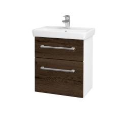 Dřevojas - Koupelnová skříň GO SZZ2 55 - N01 Bílá lesk / Úchytka T03 / D21 Tobacco (278878C)