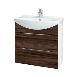 Dřevojas - Koupelnová skříň TAKE IT SZZ2 75 - N01 Bílá lesk / Úchytka T05 / D06 Ořech (152963F)