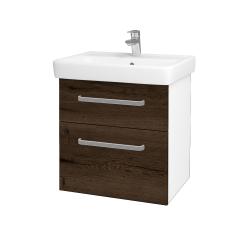 Dřevojas - Koupelnová skříň Q MAX SZZ2 60 - N01 Bílá lesk / Úchytka T01 / D21 Tobacco (275600A)