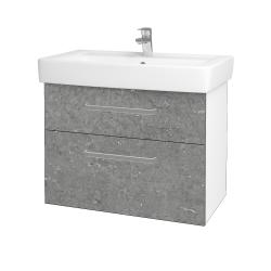 Dřevojas - Koupelnová skříň Q MAX SZZ2 80 - N01 Bílá lesk / Úchytka T01 / D20 Galaxy (275679A)
