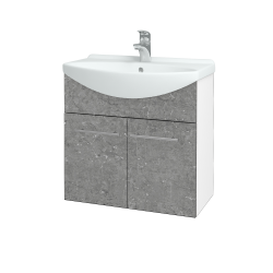Dřevojas - Koupelnová skříň TAKE IT SZD2 65 - N01 Bílá lesk / Úchytka T02 / D20 Galaxy (279349B)