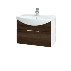 Dřevojas - Koupelnová skříň TAKE IT SZZ 65 - N01 Bílá lesk / Úchytka T05 / D21 Tobacco (279370F)