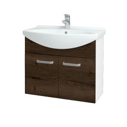 Dřevojas - Koupelnová skříň TAKE IT SZD2 75 - N01 Bílá lesk / Úchytka T01 / D21 Tobacco (279417A)