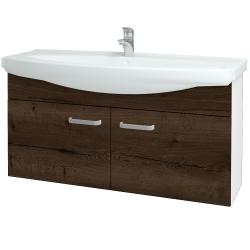 Dřevojas - Koupelnová skříň TAKE IT SZD2 120 - N01 Bílá lesk / Úchytka T01 / D21 Tobacco (279592A)