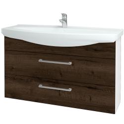 Dřevojas - Koupelnová skříň TAKE IT SZZ2 120 - N01 Bílá lesk / Úchytka T03 / D21 Tobacco (279639C)