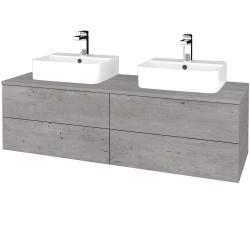 Dřevojas - Koupelnová skříňka MODULE SZZ4 140 - D01 Beton / D01 Beton (296926)