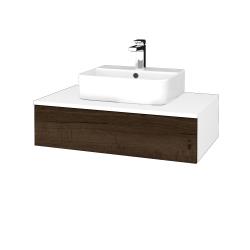 Dřevojas - Koupelnová skříňka MODULE SZZ 80 - N01 Bílá lesk / D21 Tobacco (297398)