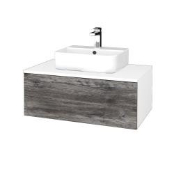 Dřevojas - Koupelnová skříňka MODULE SZZ1 80 - N01 Bílá lesk / D10 Borovice Jackson (297688)