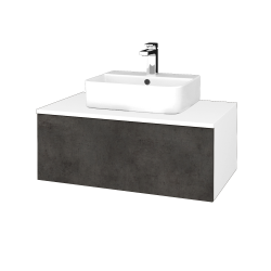 Dřevojas - Koupelnová skříňka MODULE SZZ1 80 - N01 Bílá lesk / D16 Beton tmavý (297701)