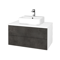 Dřevojas - Koupelnová skříňka MODULE SZZ2 80 - N01 Bílá lesk / D16 Beton tmavý (298173)