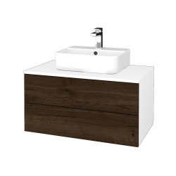 Dřevojas - Koupelnová skříňka MODULE SZZ2 80 - N01 Bílá lesk / D21 Tobacco (298333)