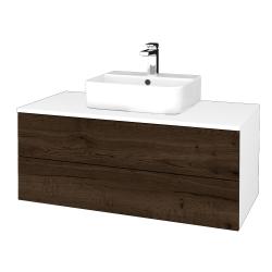 Dřevojas - Koupelnová skříňka MODULE SZZ2 100 - N01 Bílá lesk / D21 Tobacco (299743)