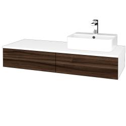Dřevojas - Koupelnová skříňka MODULE SZZ2 120 - N01 Bílá lesk / D06 Ořech / Levé (300005)