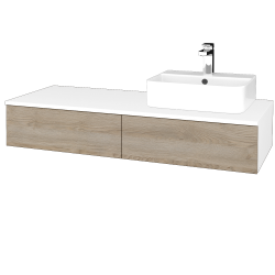 Dřevojas - Koupelnová skříňka MODULE SZZ2 120 - N01 Bílá lesk / D17 Colorado / Pravé (300531P)