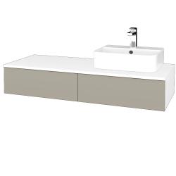 Dřevojas - Koupelnová skříňka MODULE SZZ2 120 - N01 Bílá lesk / M05 Béžová mat / Pravé (300555P)