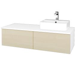 Dřevojas - Koupelnová skříňka MODULE SZZ12 120 - N01 Bílá lesk / D02 Bříza / Levé (300906)