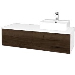 Dřevojas - Koupelnová skříňka MODULE SZZ12 120 - N01 Bílá lesk / D21 Tobacco / Levé (301156)