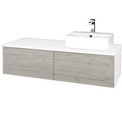 Dřevojas - Koupelnová skříňka MODULE SZZ12 120 - N01 Bílá lesk / D05 Oregon / Pravé (301408P)