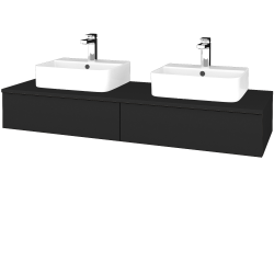 Dřevojas - Koupelnová skříňka MODULE SZZ2 140 - L03 Antracit vysoký lesk / L03 Antracit vysoký lesk (302726)