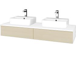 Dřevojas - Koupelnová skříňka MODULE SZZ2 140 - N01 Bílá lesk / D02 Bříza (302788)