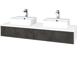 Dřevojas - Koupelnová skříňka MODULE SZZ2 140 - N01 Bílá lesk / D16 Beton tmavý (302870)