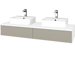 Dřevojas - Koupelnová skříňka MODULE SZZ2 140 - N01 Bílá lesk / L04 Béžová vysoký lesk (302931)