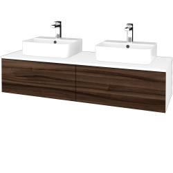 Dřevojas - Koupelnová skříňka MODULE SZZ12 140 - N01 Bílá lesk / D06 Ořech (303297)