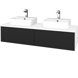 Dřevojas - Koupelnová skříňka MODULE SZZ12 140 - N01 Bílá lesk / L03 Antracit vysoký lesk (303396)