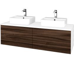 Dřevojas - Koupelnová skříňka MODULE SZZ4 140 - N01 Bílá lesk / D06 Ořech (303754)