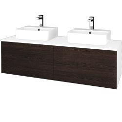 Dřevojas - Koupelnová skříňka MODULE SZZ4 140 - N01 Bílá lesk / D08 Wenge (303761)