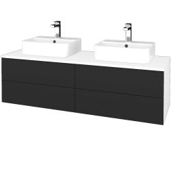 Dřevojas - Koupelnová skříňka MODULE SZZ4 140 - N01 Bílá lesk / N03 Graphite (303877)